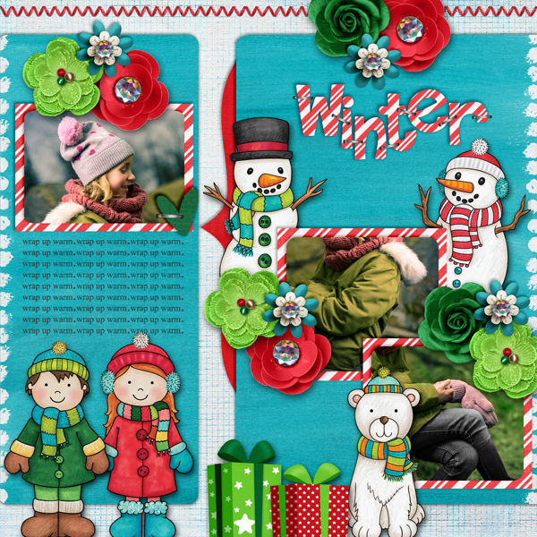 "Winter scrapbook page created with the ""Wrap Up Warm"" digital scrapbooking elements from Kate Hadfield – fun ideas for winter scrapbook layouts! Layout created by Creative Team member Karen"