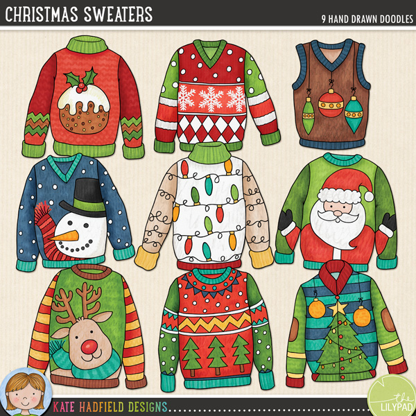 Ugly Christmas Sweaters digital scrapbooking elements or cute Christmas jumpers clip art! Hand-drawn doodles for digital scrapbooking, crafting and teaching resources from Kate Hadfield Designs!