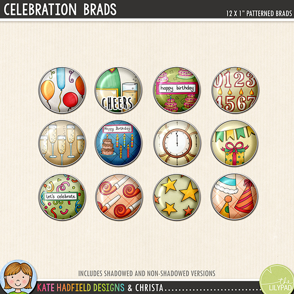 Celebration Brads digital scrapbook elements - perfect for New Year and birthday celebrations! Hand-drawn digital scrapbook kits from Kate Hadfield Designs.
