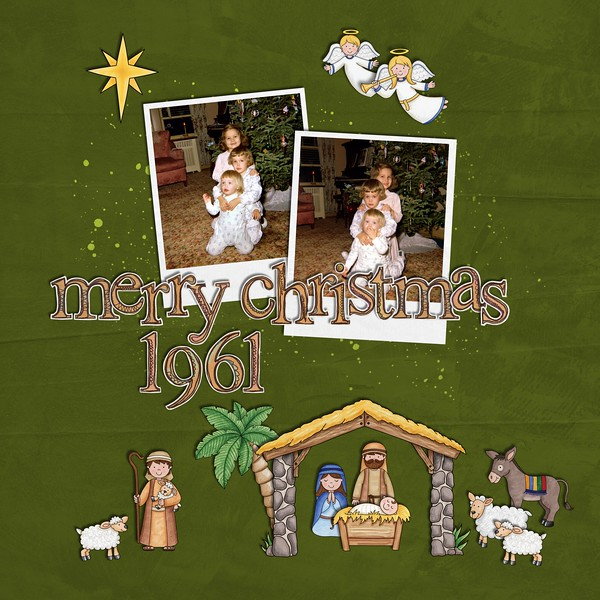 Nativity scrapbook page created with digital scrapbooking kits from Kate Hadfield Designs – ideas and inspiration for scrapbooking the Christmas story. Layout by Creative Team member Jan