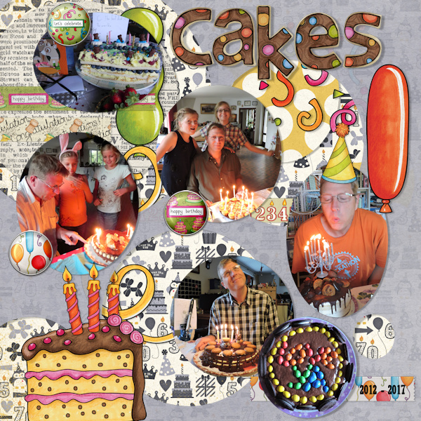 Birthday scrapbook page created with digital scrapbooking kits from Kate Hadfield Designs – fun ideas and inspiration for scrapbooking birthdays and celebrations! Layout by Creative Team member Olga