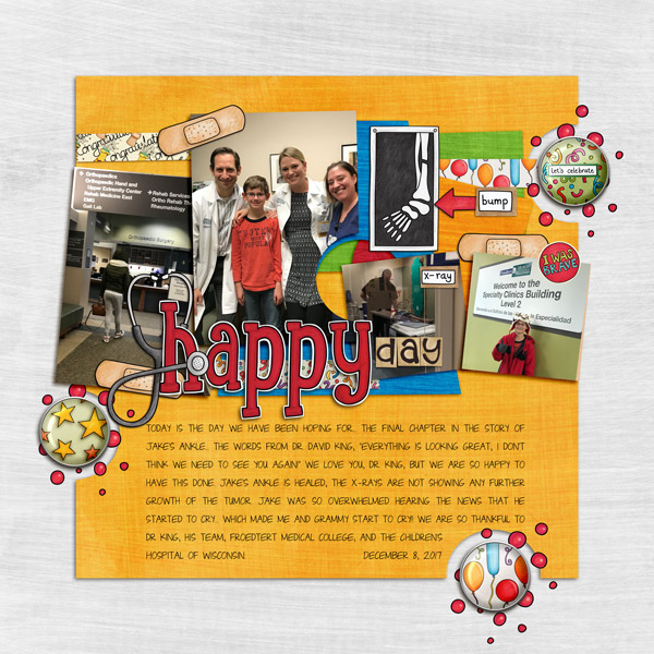 Scrapbook page created with digital scrapbooking kits from Kate Hadfield Designs – fun ideas and inspiration for scrapbooking! Layout by Creative Team member Rebecca
