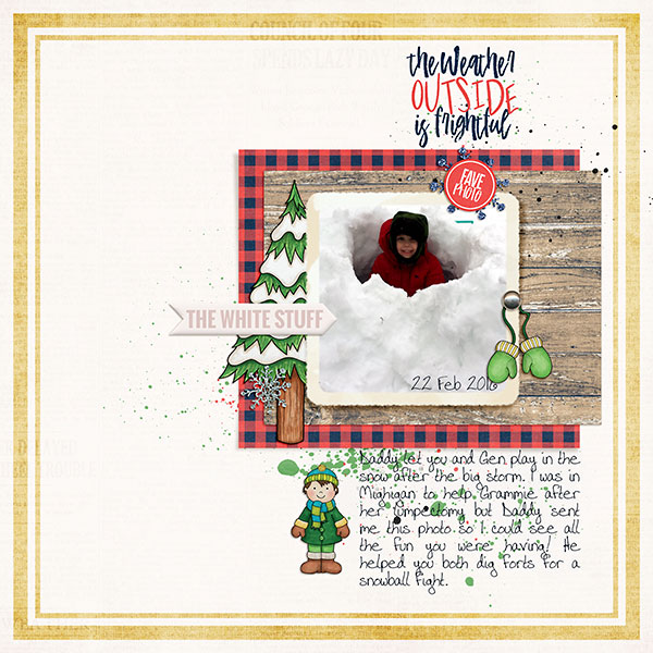 "Winter scrapbook page created with the ""Wrap Up Warm"" digital scrapbooking elements from Kate Hadfield – fun ideas for winter scrapbook layouts! Layout created by Creative Team member Sara"