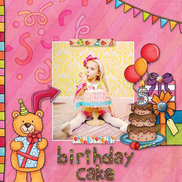 Birthday scrapbook page created with digital scrapbooking kits from Kate Hadfield Designs – fun ideas and inspiration for scrapbooking birthdays and celebrations! Layout by Creative Team member Stacey