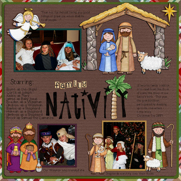 Nativity scrapbook page created with digital scrapbooking kits from Kate Hadfield Designs – ideas and inspiration for scrapbooking the Christmas story. Layout by Creative Team member Tana