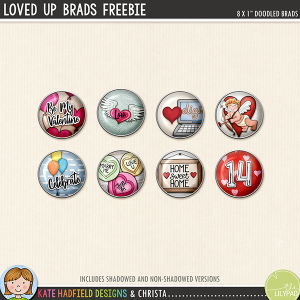 digital scrapbooking freebie loved up brads