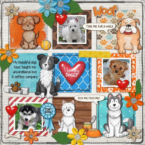 dog scrapbook layout by karen