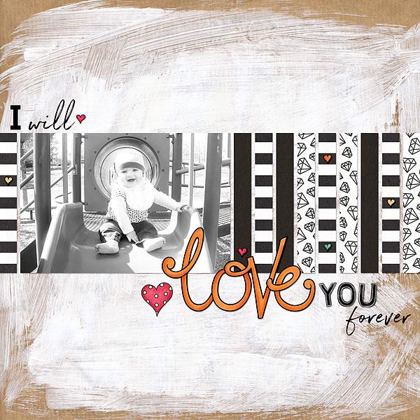 Valentine's digital scrapbook page by Desi