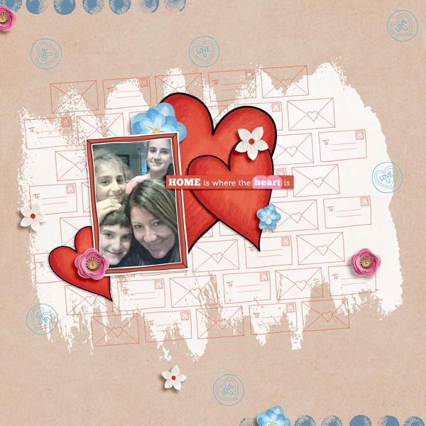 Valentine's digital scrapbook page by Kirstie