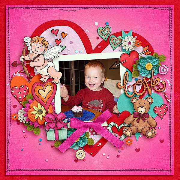 Valentine's digital scrapbook page by Lisa
