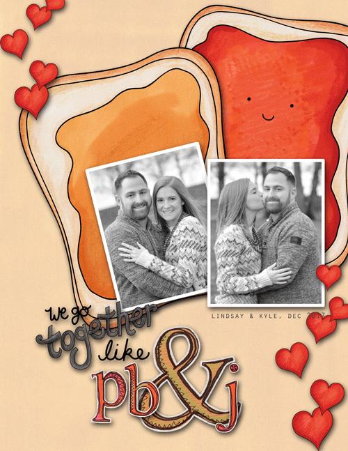 Valentine's digital scrapbook page by michele