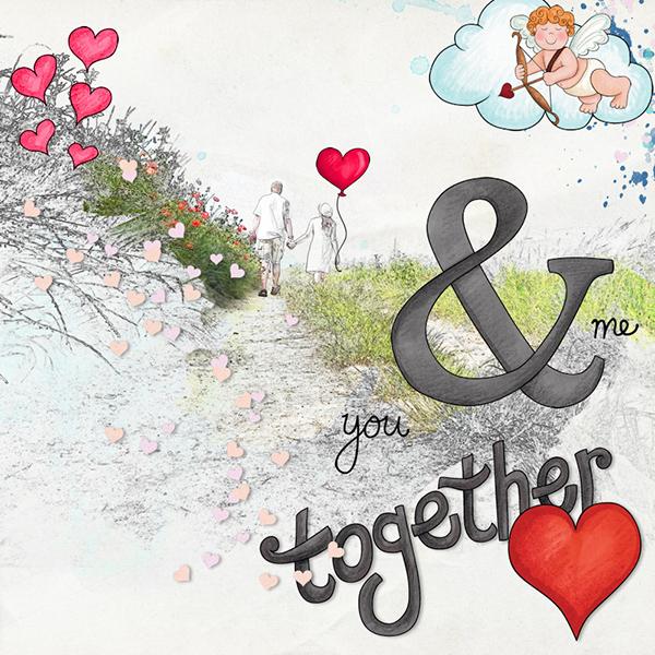 Valentine's digital scrapbook page by Olga
