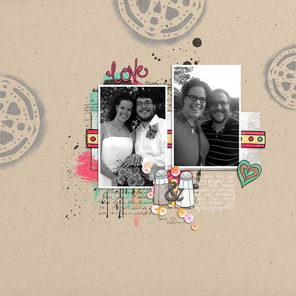 Valentine's digital scrapbook page by Sara
