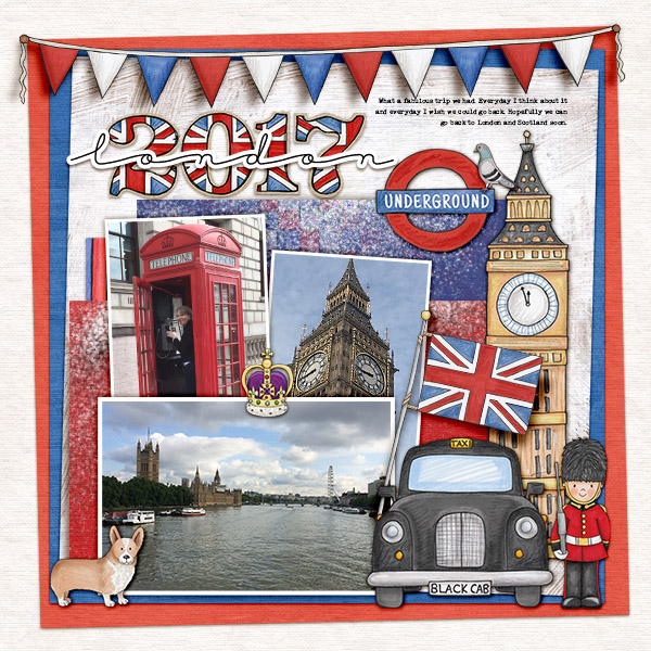 London digitial scrapbook layout created with free template