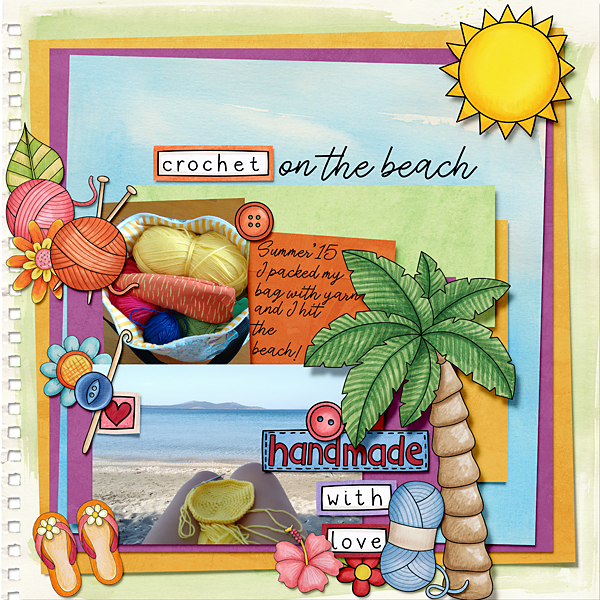 summer digitial scrapbook layout created with free template