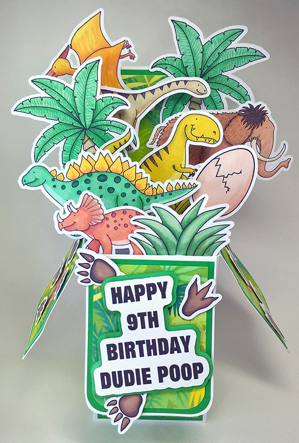 dinosaur pop up box card boys birthday card