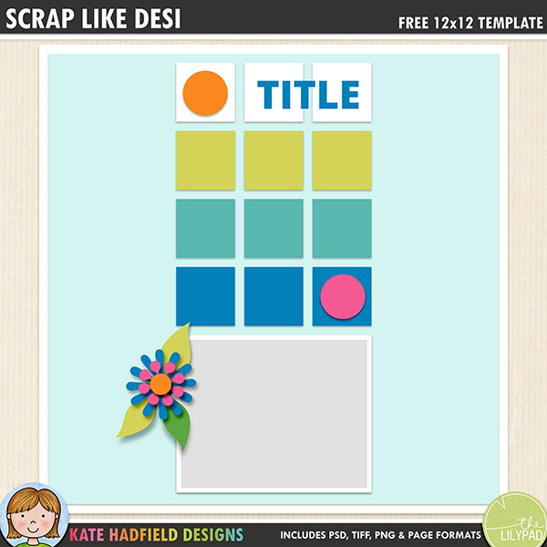digital scrapbook template clean simple design