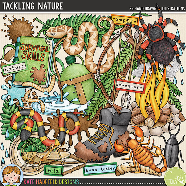 Tackling Nature is a jam-packed, down and dirty doodle pack created for all the intrepid explorers out there! Bush craft digital scrapbooking elements / outdoors clip art set! Hand-drawn doodles for digital scrapbooking, crafting and teaching resources from Kate Hadfield Designs.