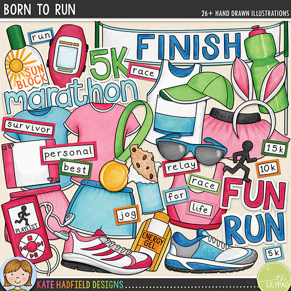 Born to Run: a colourful set of running digital scrapbook elements / cute clip art created for all the runners, joggers and walkers out there! Hand-drawn illustrations for digital scrapbooking, crafting and teaching resources from Kate Hadfield Designs. #digitalscrapbooking