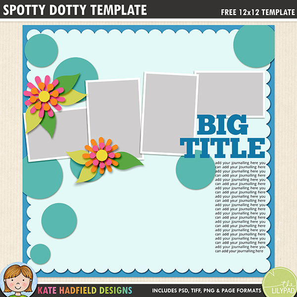Free Digital Scrapbook Template: Spotty Dotty Template