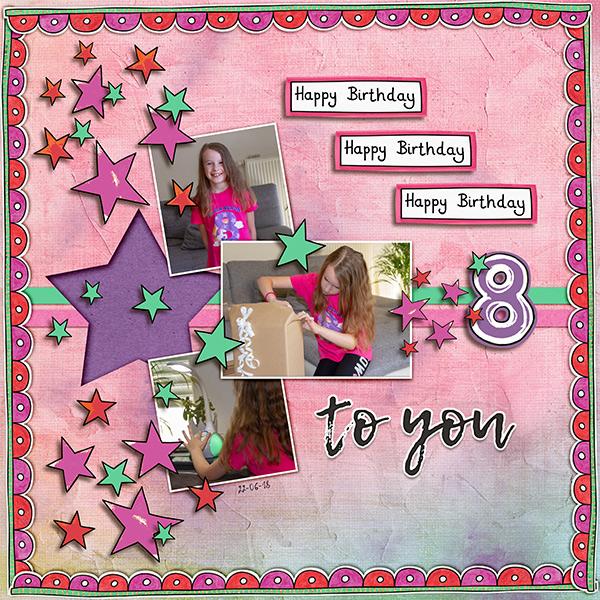 birthday digital scrapbook page