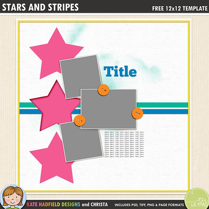 Free Digital Scrapbook Template Stars And Stripes Kate Hadfield