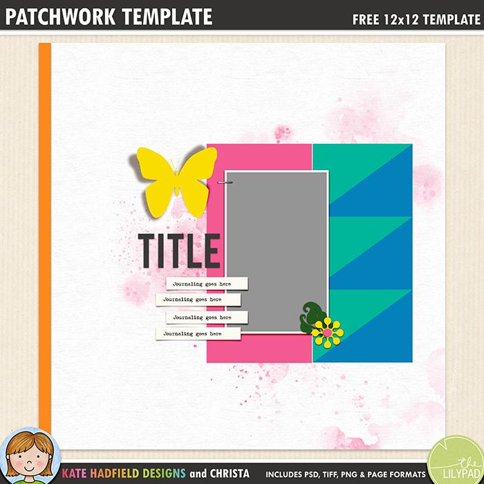 Free Digital Scrapbook Template Patchwork Template 1 Kate