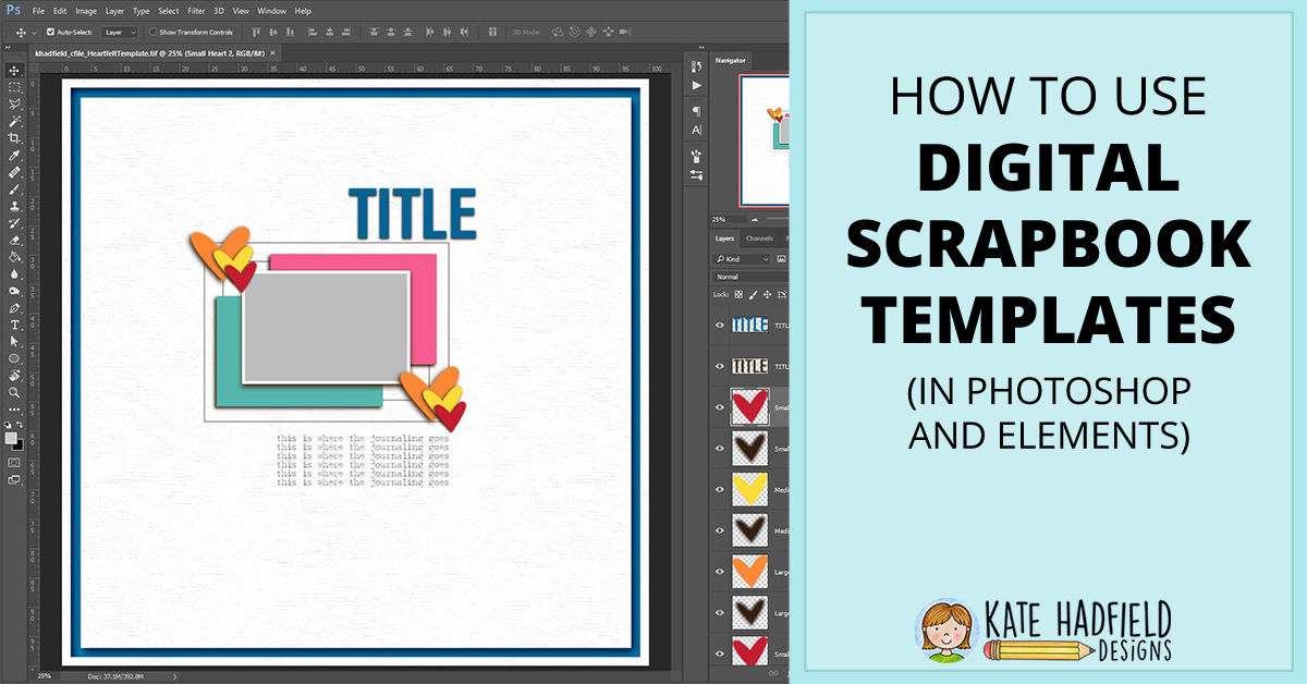 How to use Digital Scrapbook Templates (Photoshop and Elements