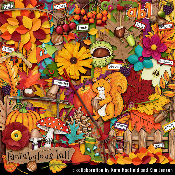 Fantabulous Fall digital scrapbook kit by Kim Jensen and Kate Hadfield. Fantabulous Fall is packed with beautiful papers, handmade elements and doodles, and LOADS of autumnal colour! Perfect for recording all your fall memories and for creating seasonal decorations.  #digiscrap #digitalscrapbooking