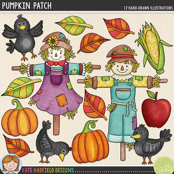 Pumpkin Patch - autumn digital scrapbook elements / cute scarecrow clip art! Hand-drawn doodles and illustrations for digital scrapbooking, crafting and teaching resources from Kate Hadfield Designs.