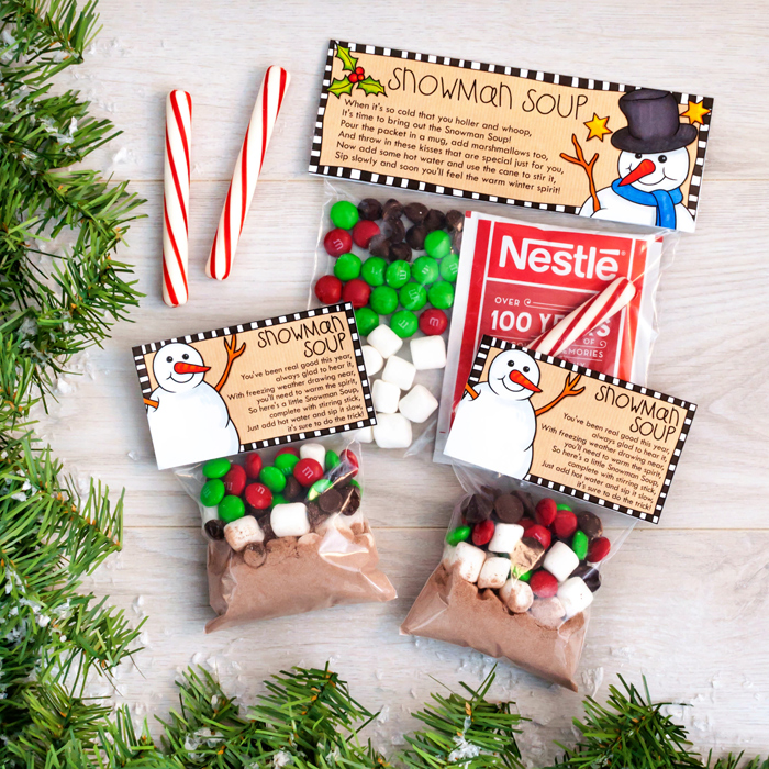 picture relating to Snowman Soup Free Printable titled Do-it-yourself Xmas handle bag toppers: Magic Reindeer Snacks and