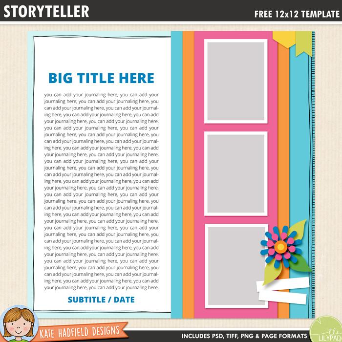 Free Digital Scrapbook Template: Storyteller
