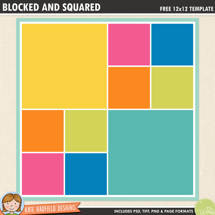 Free digital scrapbook template: Blocked and Squared - Kate