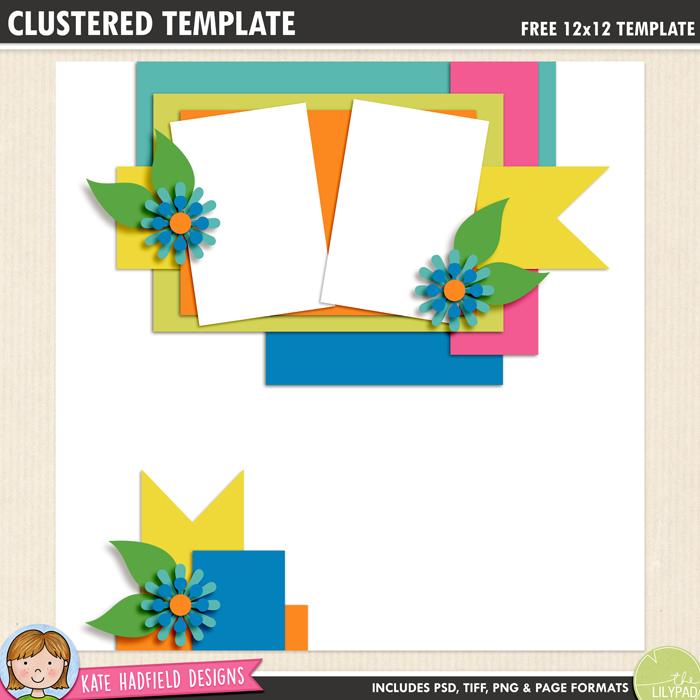 Free digital scrapbook template: Clustered