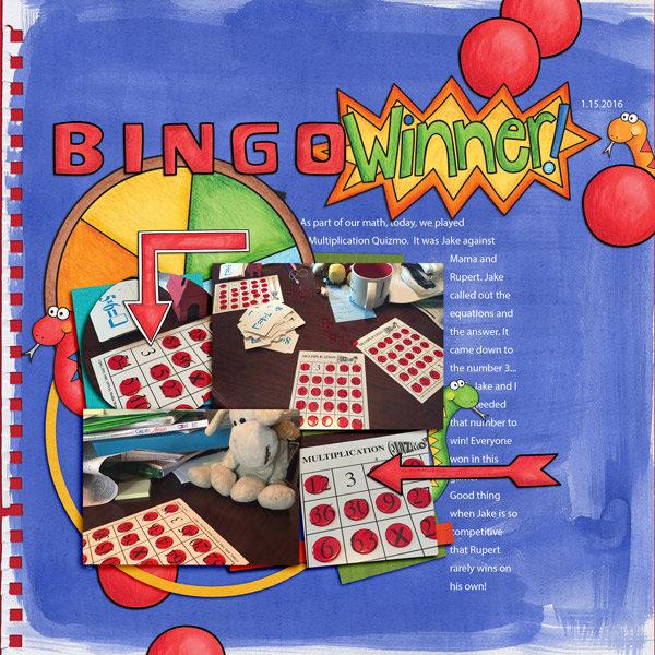 bingo digital scrapbook page