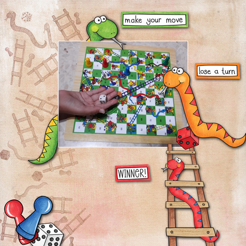 board game digital scrapbook page