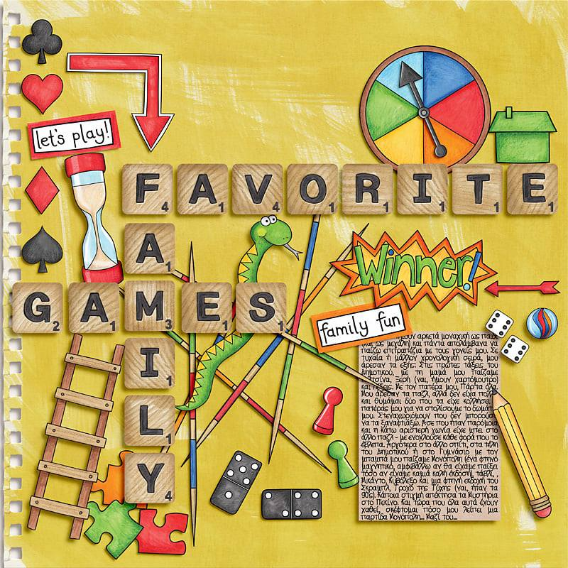 favourite family board games digital scrapbook page