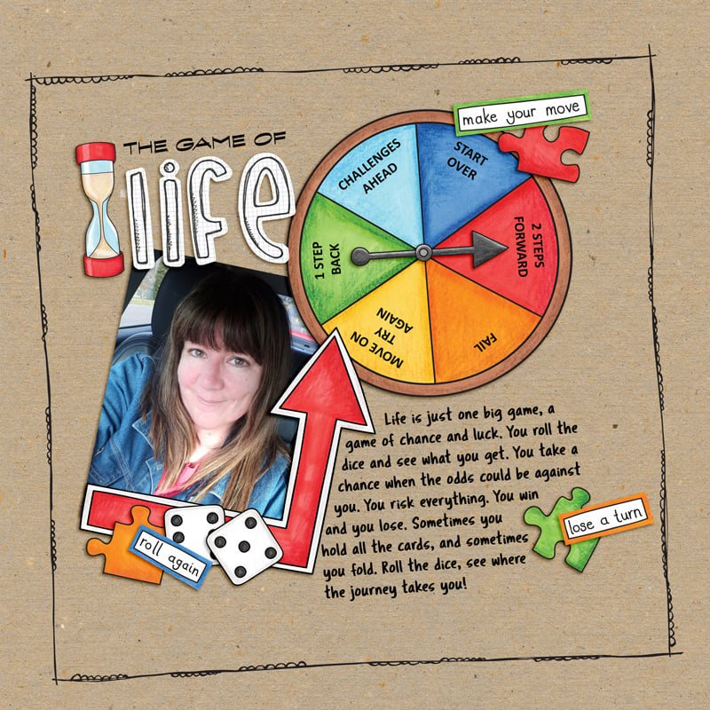 board game digital scrapbook layout