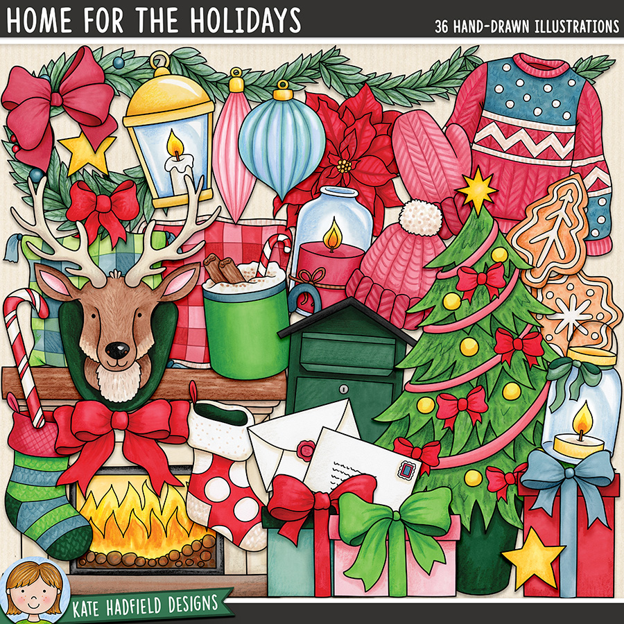 Home for the Holidays - cosy Christmas digital scrapbook elements and clip art! Hand-drawn doodles and illustrations for digital scrapbooking, crafting and teaching resources from Kate Hadfield Designs.