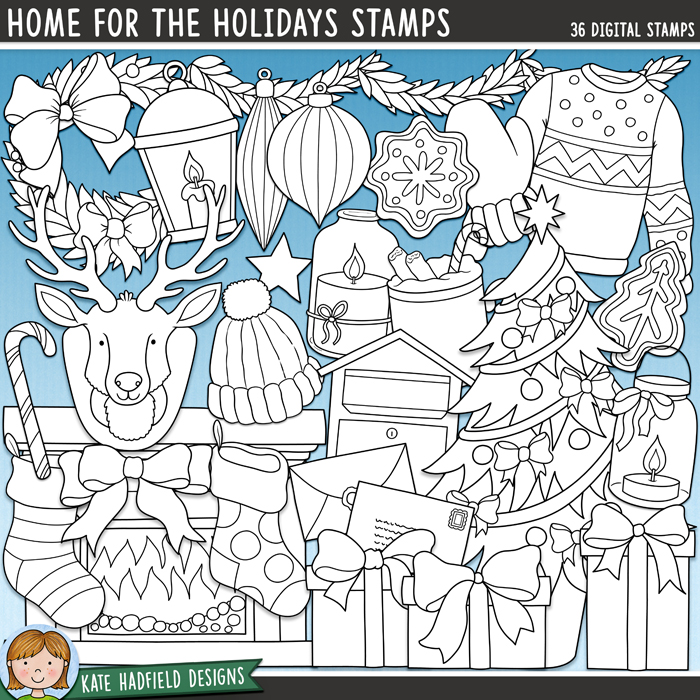 Home for the Holidays Stamps - cosy Christmas digital stamps! Hand-drawn doodles and illustrations for digital scrapbooking, crafting and teaching resources from Kate Hadfield Designs.