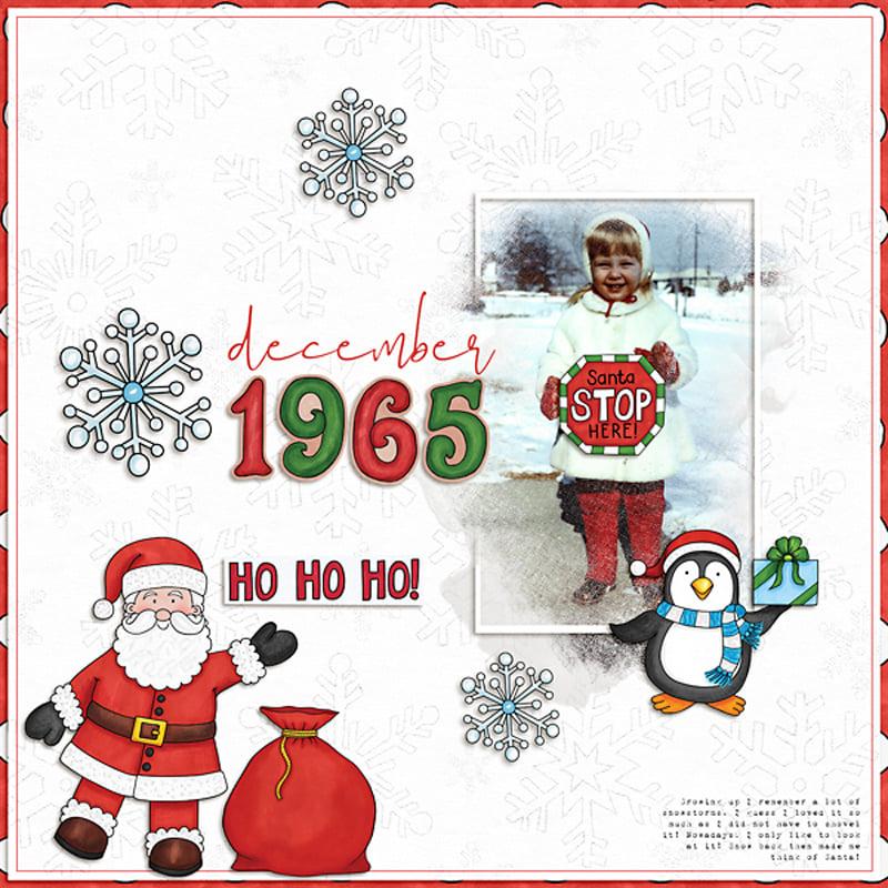 christmas digital scrapbook layout