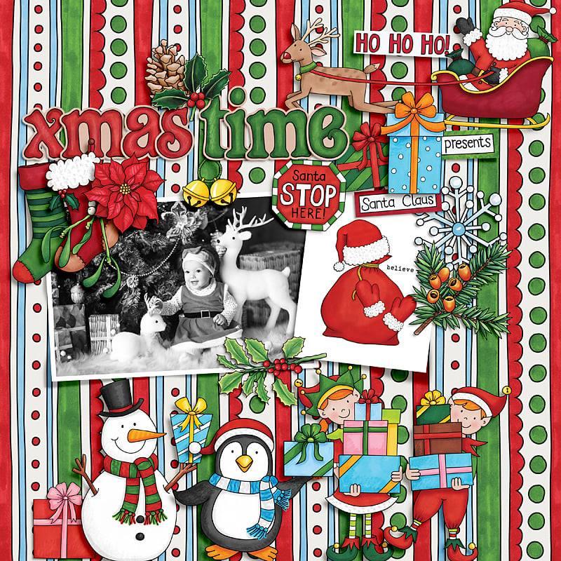 christmas digital scrapbook page