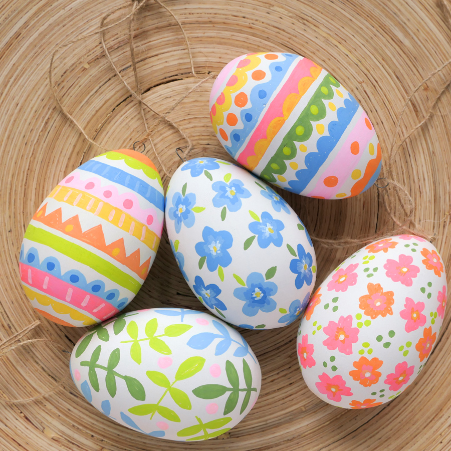 hand-painted, hanging ceramic Easter egg decorations