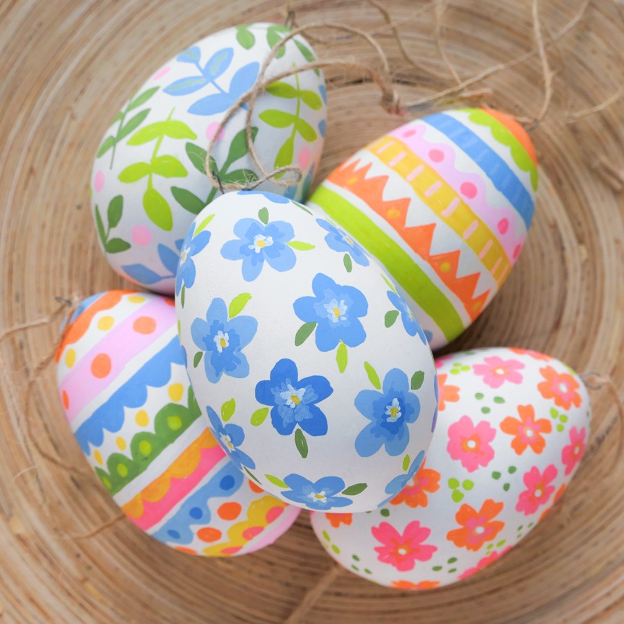 hand-painted ceramic Easter egg decorations